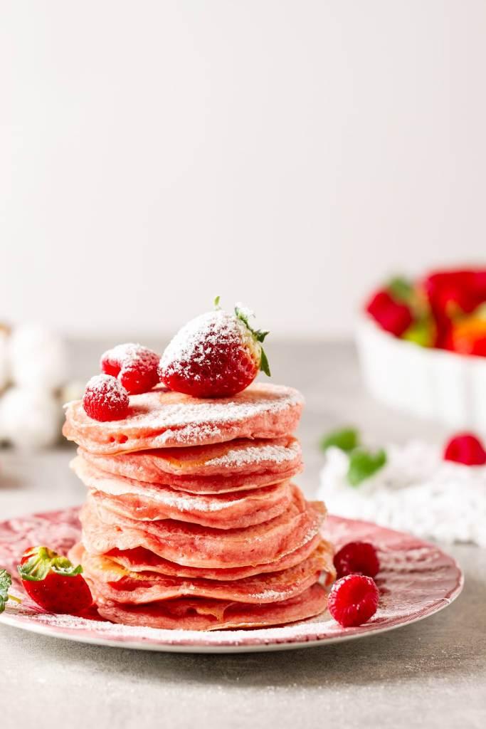 rosa pancakes foodbilder