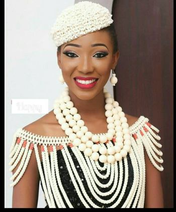 African Wedding Coral Broken Chips Cap and Beads Set for Nigerian Bride, Edo Brides_Ibo Brides