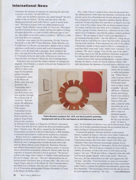 'Venezuela's Cultural Revolution,' ARTnews, May 2007