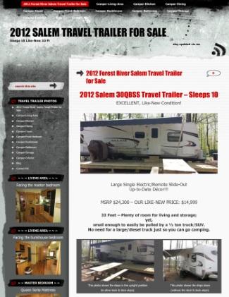 snapshot of 2012 Travel Trailer for Sale website