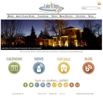 snapshot of Lake Elmo Life website