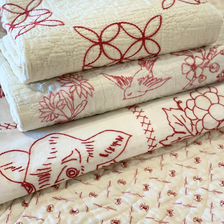 Redwork Gatherings: the Next MODA Quilt Fabric Line Coming in August featured by top US quilting blogger, Lisa Bongean