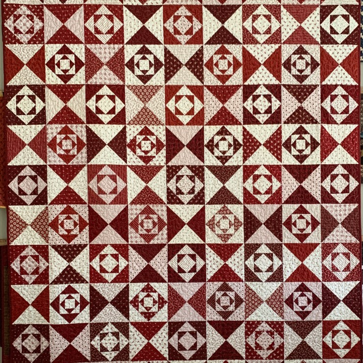 REDWORK GATHERINGS Quilt featured by top US quilting blogger, Lisa Bongean