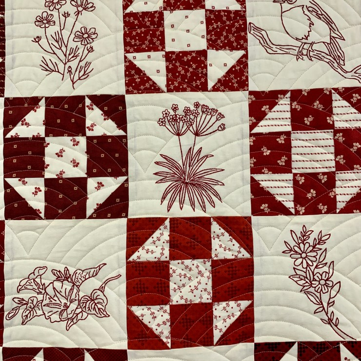 Redwork Quilt featured by top US quilting blogger, Lisa Bongean