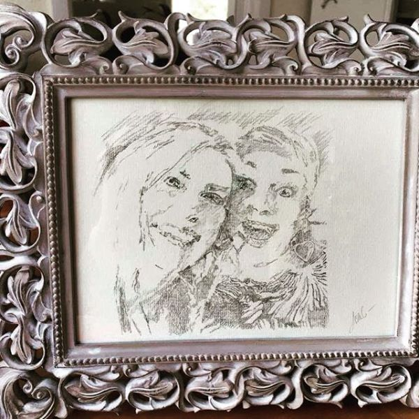 One of the rough preparatory sketches was framed too.