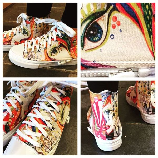 So thrilled to see the bespoke hi tops I designed on the feet of one of the most stylish young women I've ever met.