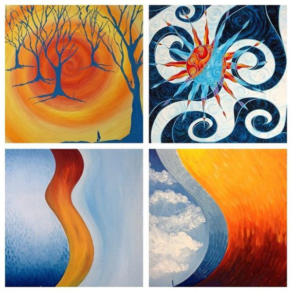 Taking a moment to look back - four of my paintings from some years ago. throwback Thursday.