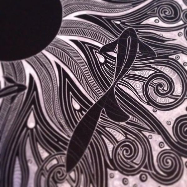 Construction underway and lines in place for a new larger piece, white on black. The detail is in the detail.