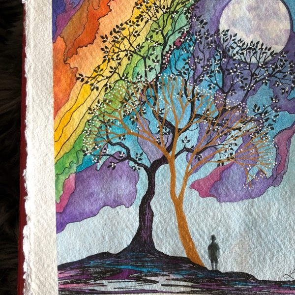 Sketching the new 'Rainbow maker and golden tree.' Hope springs eternal. I made him this little rainbow painting in return. It's called 'The rainbow maker' - The tree has new spring blossom starting to show and the Rainbow maker heading out into the world with his stick. I wanted to show hope and good times ahead on the other side of this difficult journey particularly for young children. I hope you like it. I also hope you're having a lovely day whatever you're doing.   @lisa_cat #artwork*** I am adding work to the if you're interested if you'd like your own Rainbow maker painting please dm me.