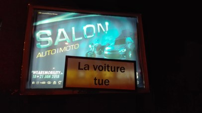 Action Salon de l'auto - La voiture tue
