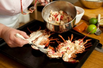 adding lobster meat to souffle mixture