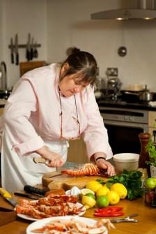 Lisa Chapman preparing lobster