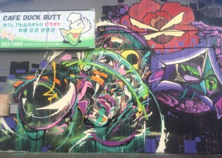 Mural on Cafe Duck Butt | Davesaction, TSG, Mung Monster and Puff | Pow! Wow! Hawaii 2014