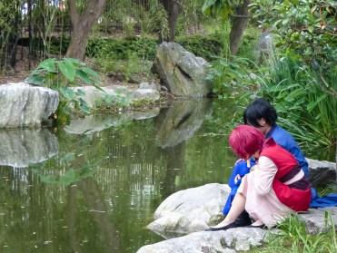 Matsuri Celebrants In The Garden