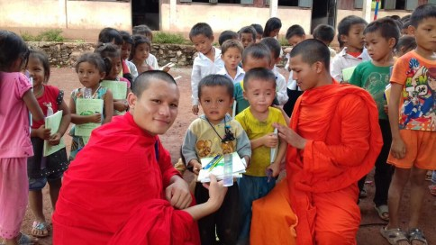 Distributing Supplies - Image Courtesy Monk Phout