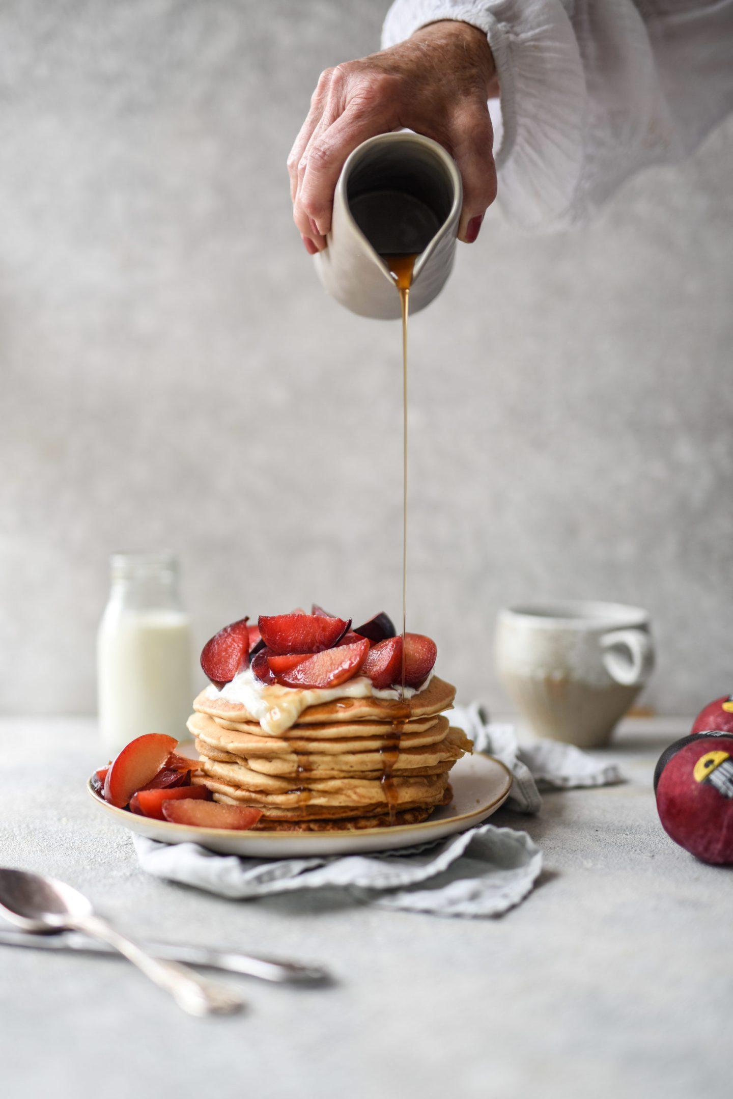 Ginger Spiced Plum Pancakes