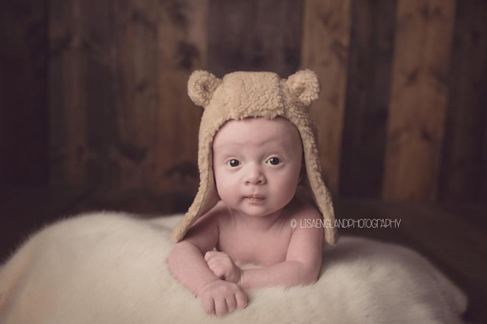 Lisa England Photography | baby boy with teddy bear hat