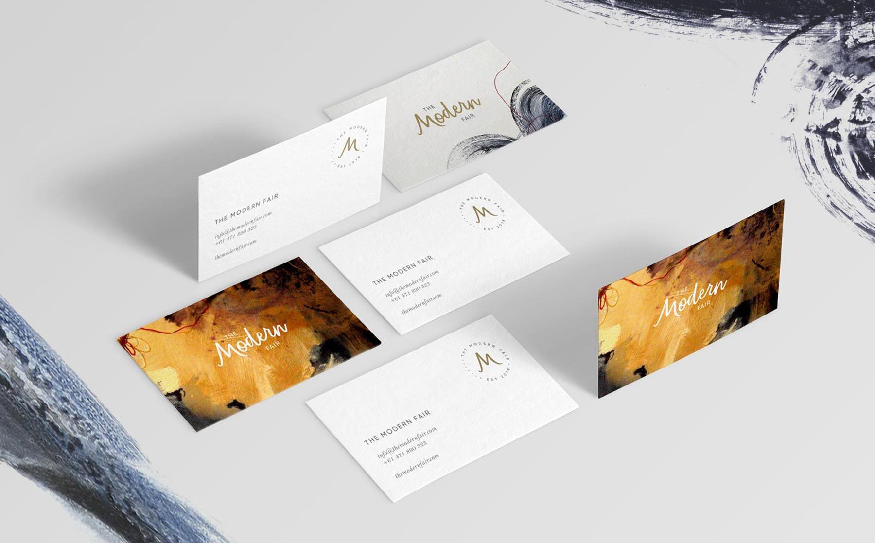 The Modern Fair business cards, design by Lisa Furze