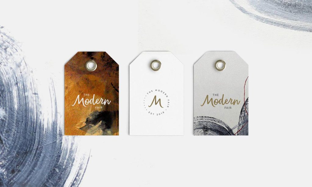 The Modern Fair swing tag designs, created by Lisa Furze