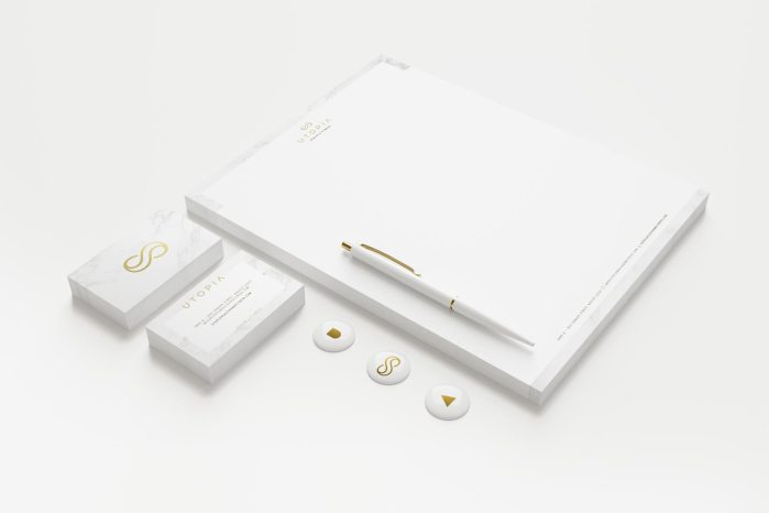 Utopia stationery design and branding by Lisa Furze