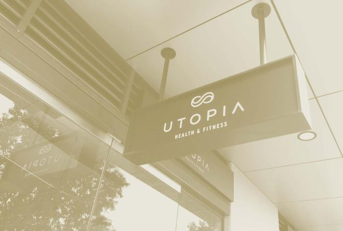 Utopia Health & Fitness signage, designed by Lisa Furze
