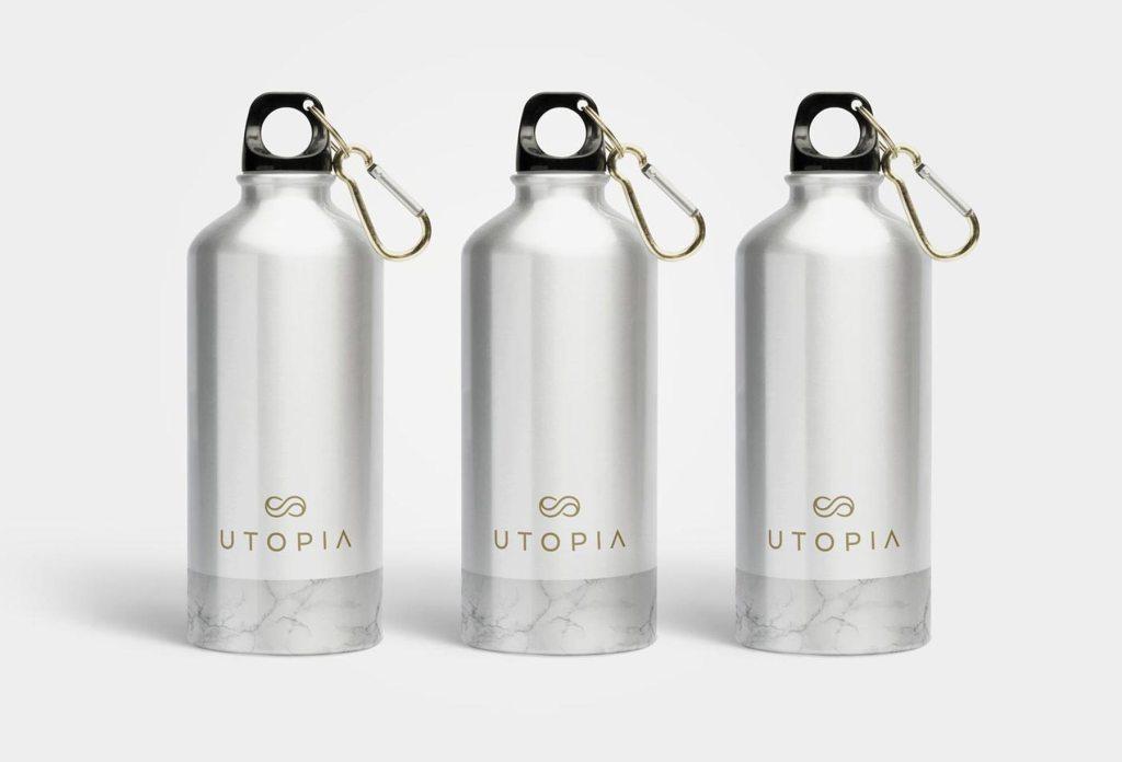 Utopia reusable alunimium drink bottles, designed by Lisa Furze