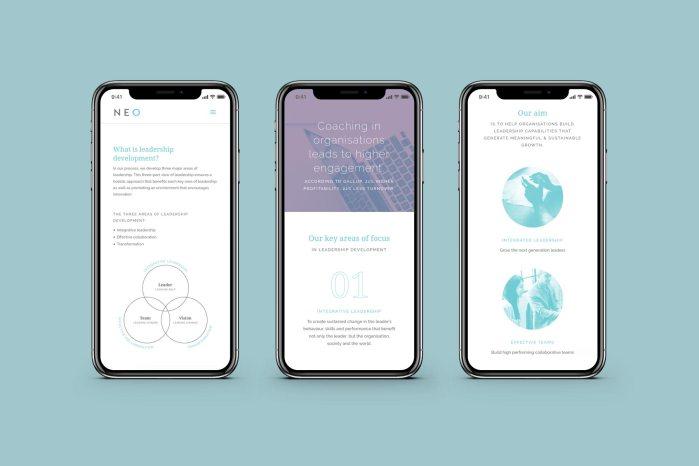 NEO website designs on mobile, designed by Lisa Furze