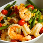 Poached Shrimp with Asparagus, Tomatoes, and Corn