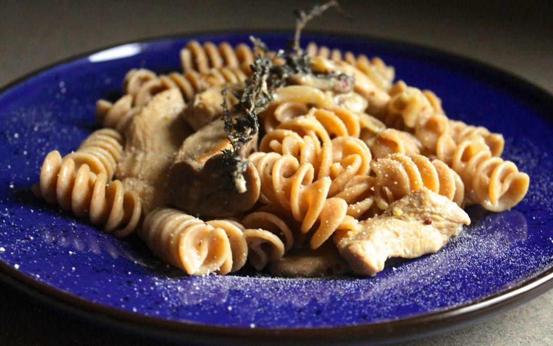 Pasta with Chicken and Mushrooms in a Creamy Dijon Mustard Sauce