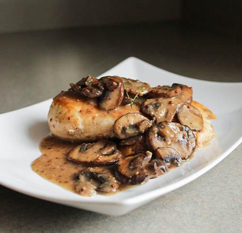 Chicken in a Grainy Dijon and Cremini Mushroom Sauce