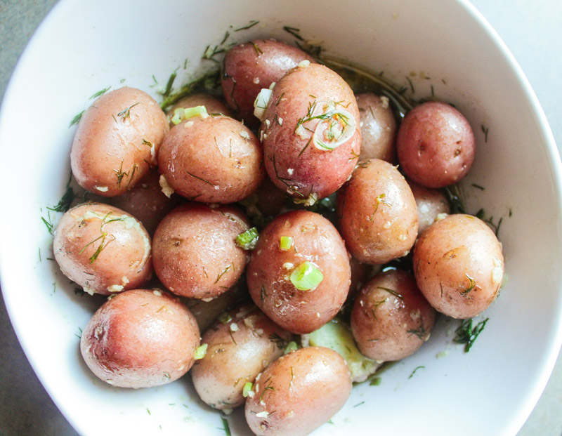 Baby Potatoes in a Dill and Scallion Vinaigrette
