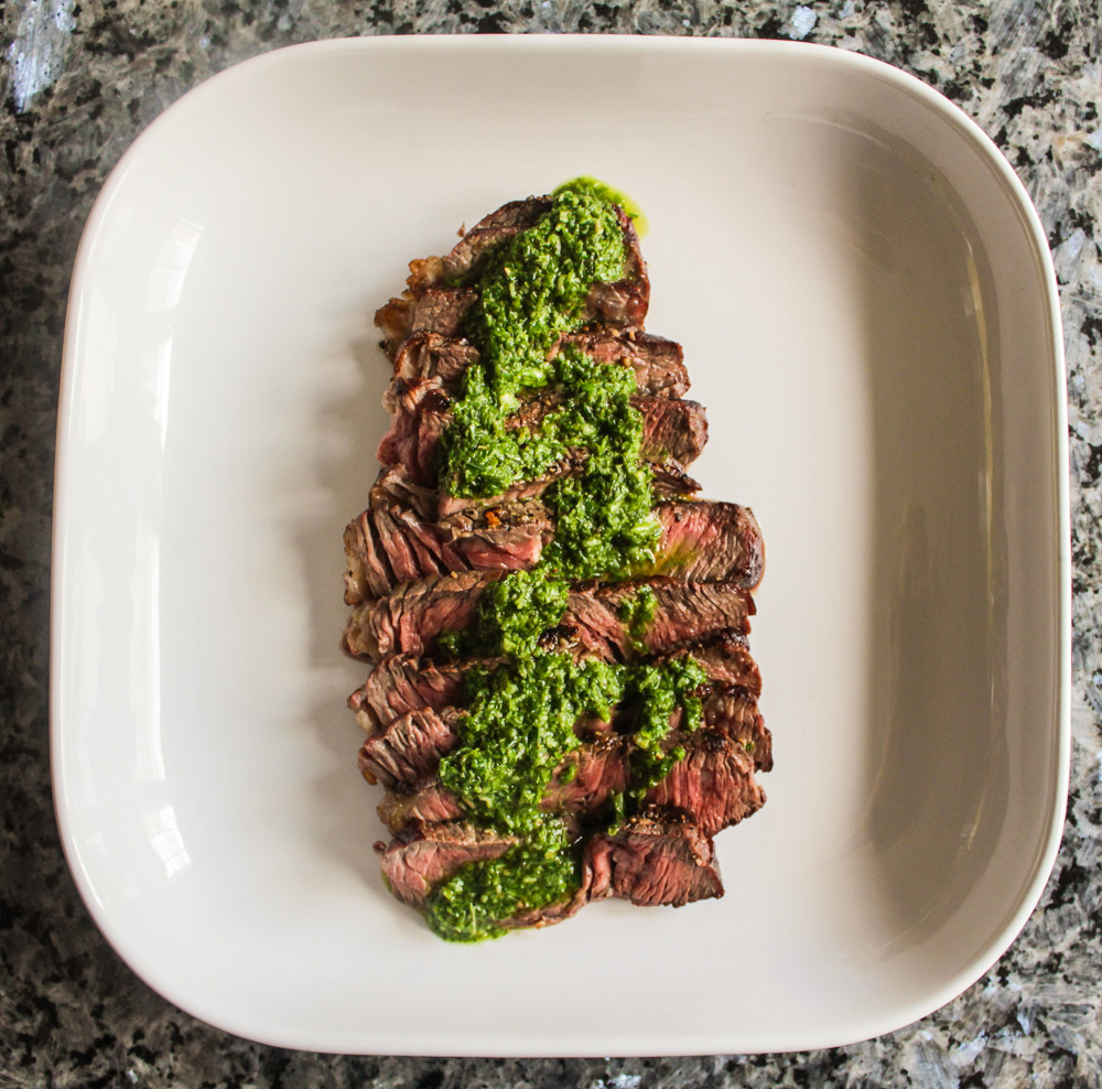 Grilled Steak with Basil Chimichuri