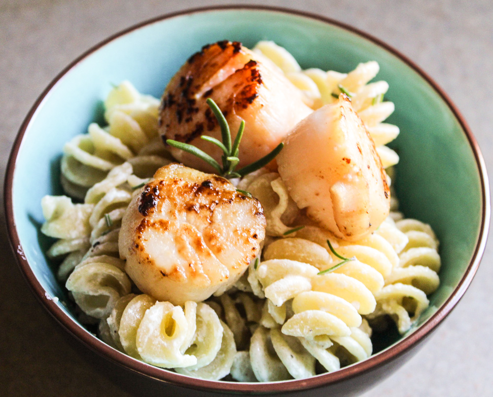 Scallops with goat cheese pasta