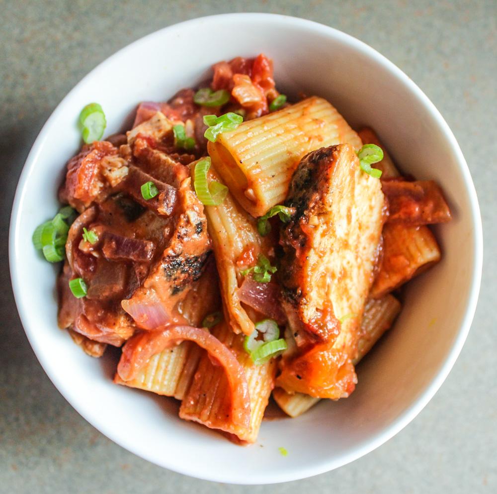 spicy pasta with chicken