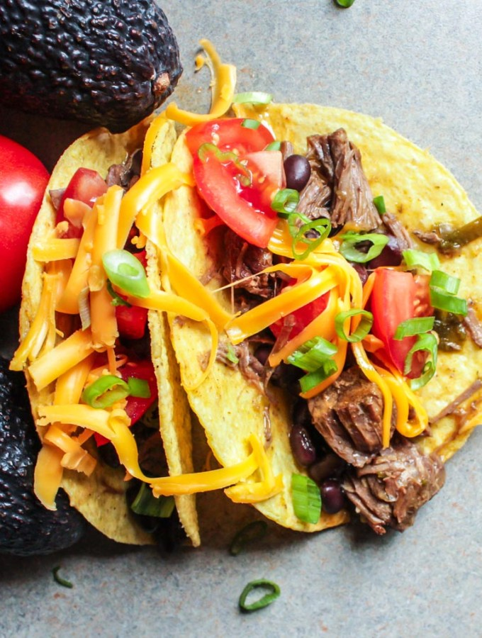 Instant Pot Shredded Beef Tacos with Black Beans