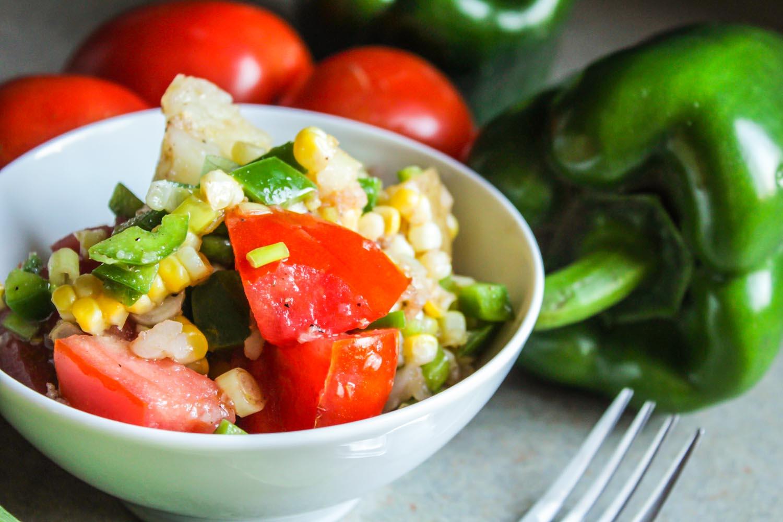 Warm potato salad with veggies