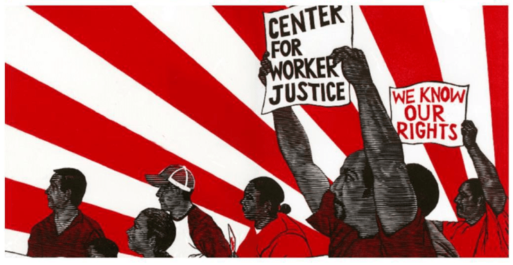 Fifield-Perez created this linocut logo for the Center for Worker Justice of Eastern Iowa
