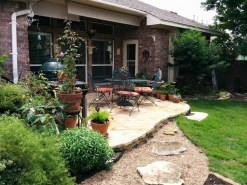 Limestone patio, river rock sidewalk