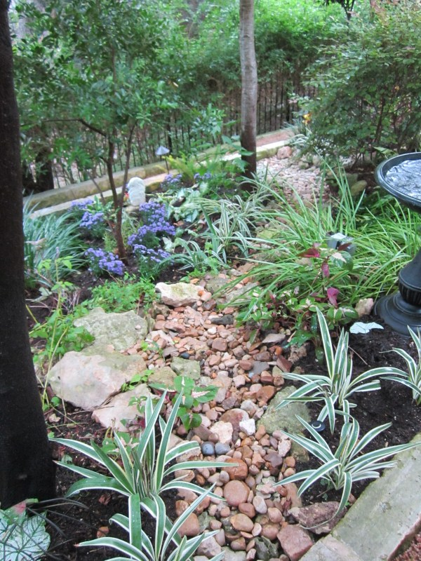 This is a shade garden where I have used contrast and color to create interest. Adding natural elements like river rock can also bring light to the space.