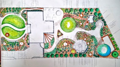 Hand drawn designs drawn to scale with a list of plants and installation instructions
