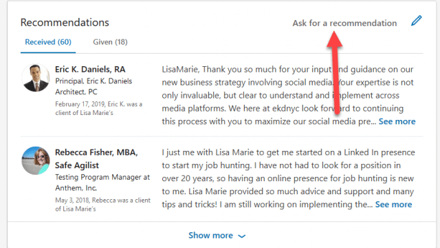 How to Request a LinkedIn Recommendation - Tutorial with Desktop
