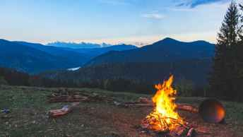 fire pit in mountains