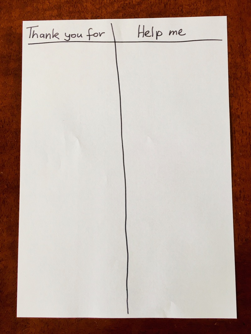 """Sheet of paper with two columns, """"thank you for"""" and help me"""