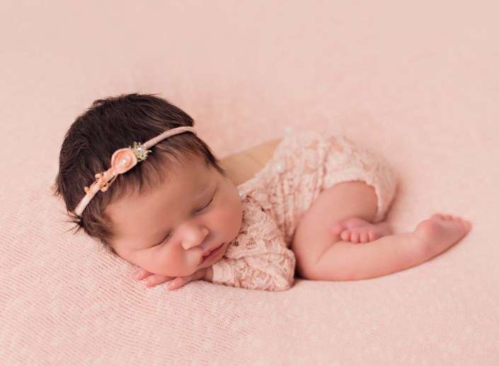 newborn photography studio in sunderland - baby girl in soft pink