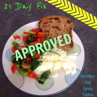 Perfect 21 Day Fix Breakfast: Egg Whites, Spinach, Peppers, Ezekiel Bread