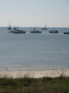 This photo of oyster boats dredging at the St. Stanislaus reef was taken in 2010.