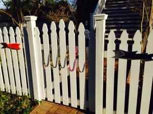 Some whimsical accessories just added to a neighborhood fence.