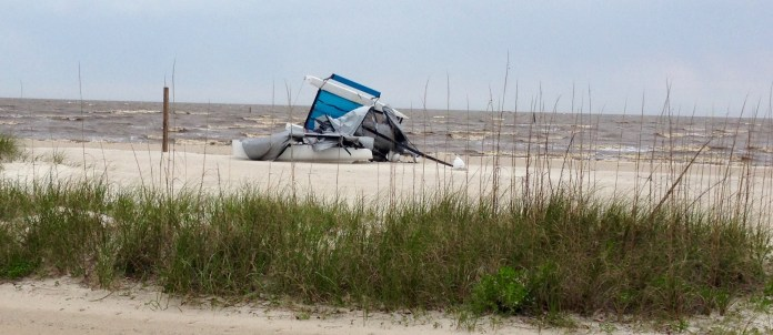 Toppled catamaran