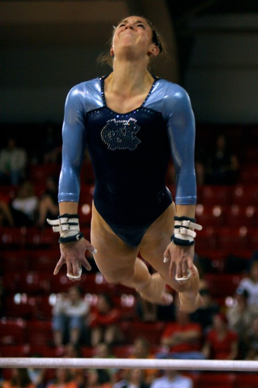 Senior Rachel Schneider competes on the uneven bars for the University of North Carolina Tar Heels at the NCAA regional meet in Raleigh, N.C. The team placed fifth out of six teams, ending its season and Schneider's UNC career.