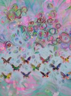 Kisses from a Butterfly Effect 3 x 4 ft mixed media (acrylic paint, gold leaf, watercolor, and neon paint, on canvas)